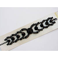 Массивность и загадочные узоры - ультра модный черный браслет с черными камнями