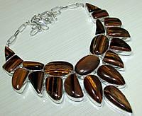Колье, ожерелье из натуральных камней - ТИГРОВЫЙ ГЛАЗ