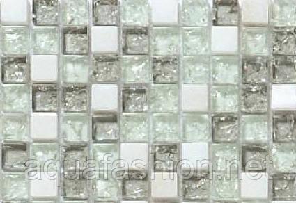 Мозаїка світло сіра камінь скло Vivacer DAF 3