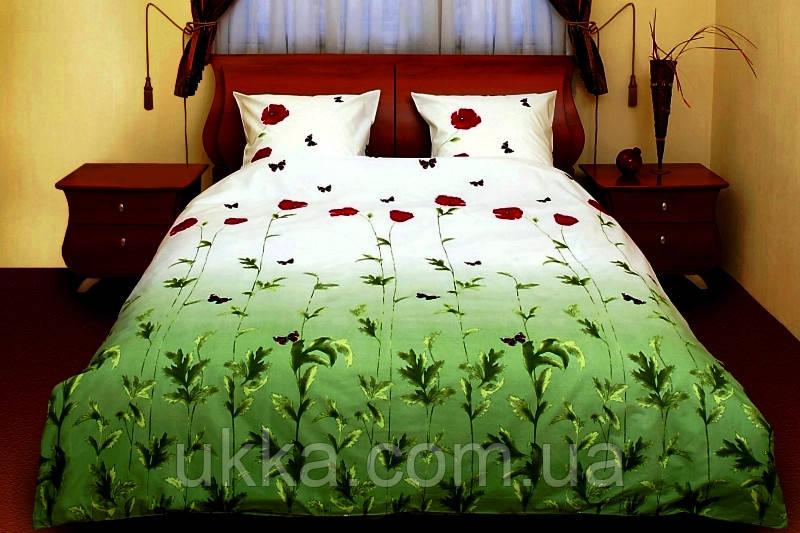Семейное постельное белье ТЕП Маки зеленые