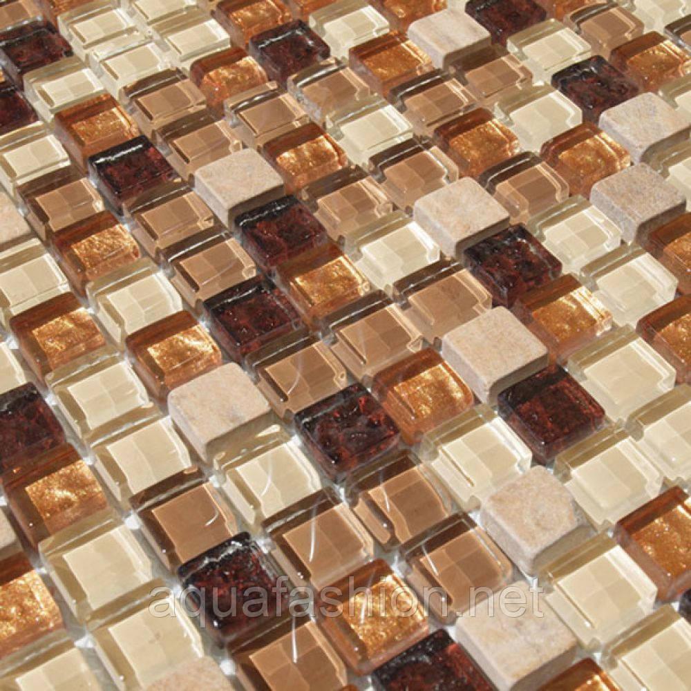 Мозаика для кухни мрамор и стекло Vivacer DAF4 коричневая