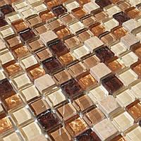 Мозаика для кухни мрамор и стекло Vivacer DAF4 коричневая, фото 1