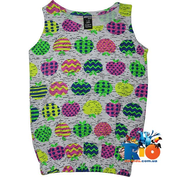"""Летняя детская футболка майка """"Яблоко"""" , из трикотажа , для девочки от (1-2)(3-4)(5-6)(7-8) лет"""
