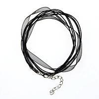 Заготовка-основа из органзы и вощенных шнуров, цвет черный
