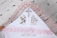 Красивая белая крыжма с уголком для крещения девочки