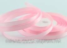 Атласная лента нежно розовая  7мм (23 м.)