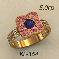 Модное золотое женское кольцо 585 * с цветными фианитами