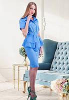 Женское голубое платье с баской на застежке