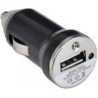 6-0340ВК. Автомобильная зарядка (шт.прикур.- гн.USB), 5V, 1A черная