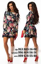 Стильное платье с цветочным принтом и вставками эко-кожи