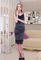 Женское черное платье приталенное с кружевом