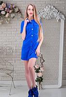 Женское синие платье с хромовой замши на пуговицах