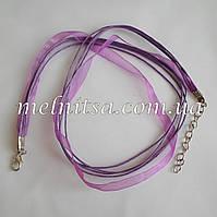 Заготовка-основа из органзы и вощенных шнуров, цвет сиреневый