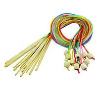 Крючок для тунисского вязания, бамбуковый, 6,0мм