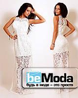 Гипюровое платье в пол с поясом белое (шампань)