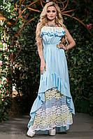 Женский красивый летний сарафан в пол с рюшами и гипюром