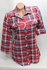 Женская молодежная рубашка 3/4 рукав в клетку ML оптом в Хмельницком