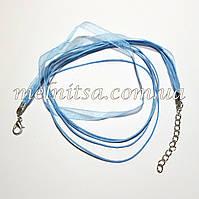 Заготовка-основа из органзы и вощенных шнуров, цвет голубой