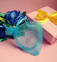 Мешочек из органзы /размер 7х9 см./ упаковка подарков/ цвет бирюзовый