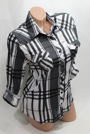 Женская молодежная рубашка в клетку ML оптом в Хмельницком, фото 2
