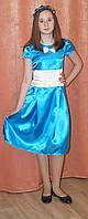 Платье для девочки праздничное на выпускной бал с бантом, голубое, 11-12 лет, Киев.