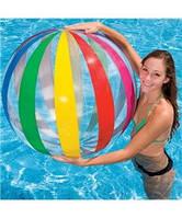 Надувной мяч Intex 59060 107см, пляжный мяч, прозрачный мяч с разноцветными вставками Intex, фото 1