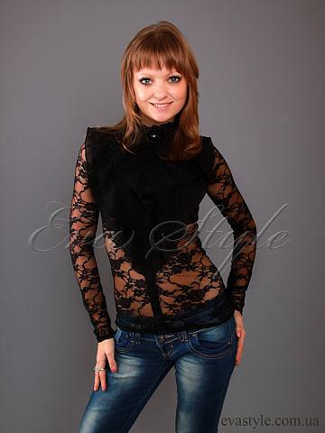 Черная гипюровая блуза с жабо,блуза с длинным рукавом