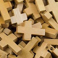 Бусины деревянные крест - 1 шт