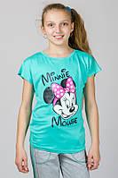 Детская трикотажная футболка Минни Маус цвет мята