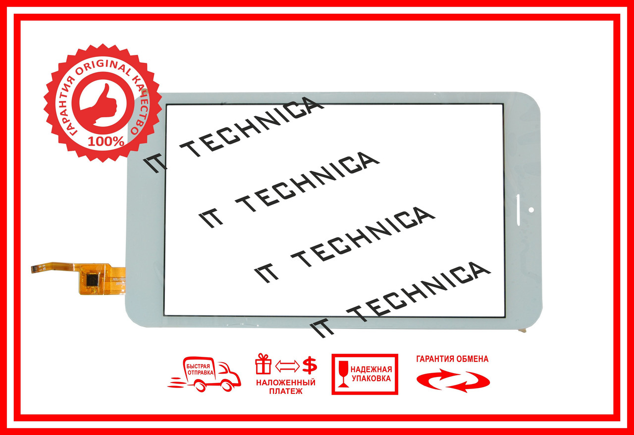 Тачскрин 213x121mm 10pin XCL-S80011A-FPC БЕЛЫЙ Отверстие под динамик