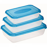 Набор емкостей пищевых прямоугольных Polar 0.9 +1.9 и 3 литра Plast Team