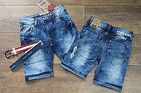 Джинсовые шорты для мальчика с поясом 4, 6, 8 лет
