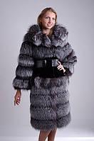 Шуба полушубок из чернобурки (перфорация) и бобра. Sheared beaver and silver fox fur  over coat