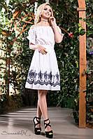 Женское нарядное летнее расклешенное платье до колен с рукавами-фонарик