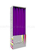 Свеча конусная тонкая столовая, декоративная, фиолетовый (сиреневый)