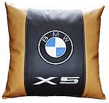 Автомобільна подушка кругла з логотипом bmv бмв 35см, фото 4