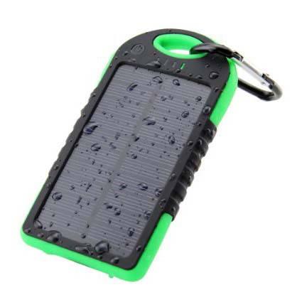 Универсальное портативное зарядное устройство Solar 5000 mAh black + зарядка от солнечной батареи, фото 2