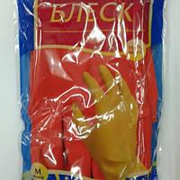 """Перчатки латексные с хлопковым напылением красные М """" Блеск """", 1 пара"""