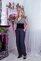 Летние женские брюки из штапеля №1571 (синие)
