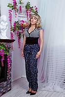 Летние женские брюки из штапеля №1575 (синие в ромашку) большого размера