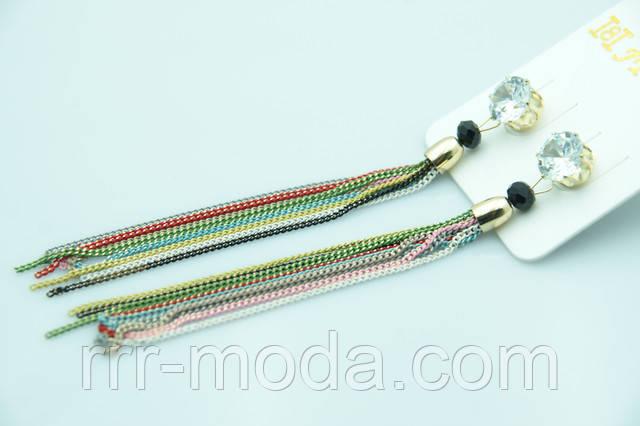 Разноцветные серьги цепочки оптом недорого.