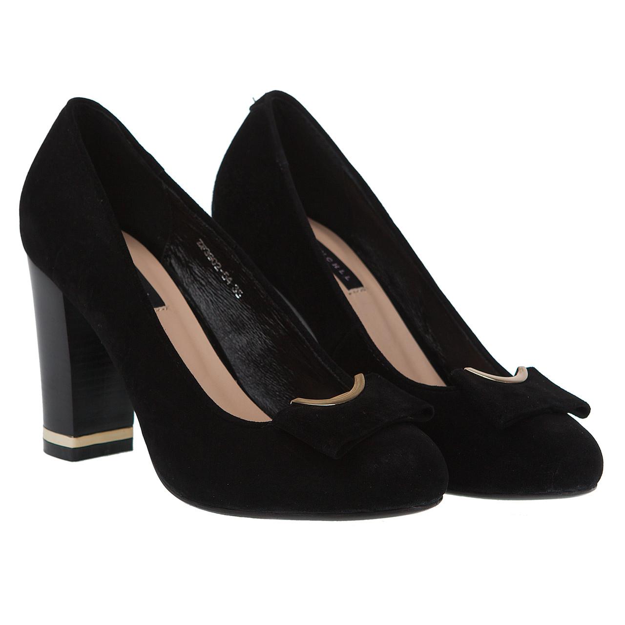d8dc2400a Туфли женские Reuchll (замшевые, черные, весенние, летние, на среднем  каблуке, красивый бант)