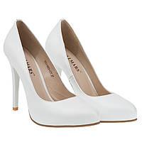 Туфли-лодочки кожаные белые свадебные