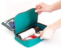 Дорожный органайзер для косметики, косметичка с отстегивающимся карманом. Цвет: зеленый.