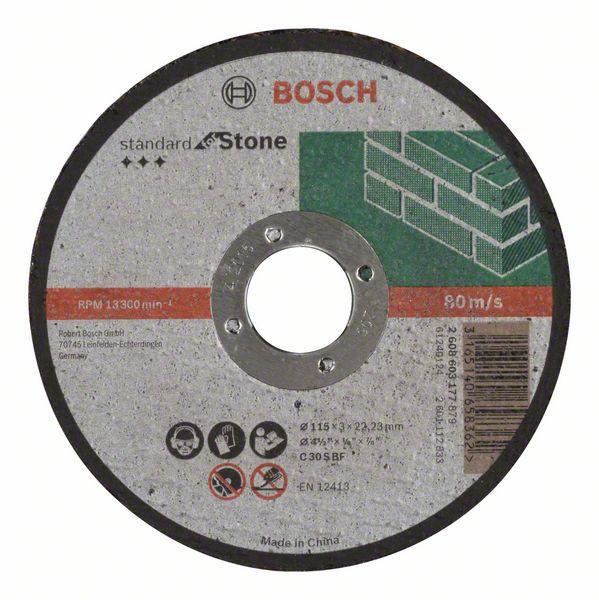 Отрезной круг Bosch Standard по камню 115х3мм SfS, прямой, 2608603177
