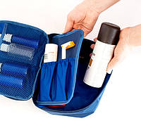 Дорожный органайзер для косметики, косметичка с отстегивающимся карманом. Цвет: синий.