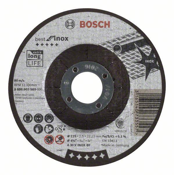 Отрезной круг Bosch Best по нержавейке 115x2,5, вогнутый, 2608603503