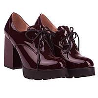 Модные женские туфли Gelsomino (лаковые, бордовые, на каблуке, на платформе, на шнуровках, есть замок)