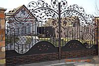Ворота кованые с лепестками, код: 01016
