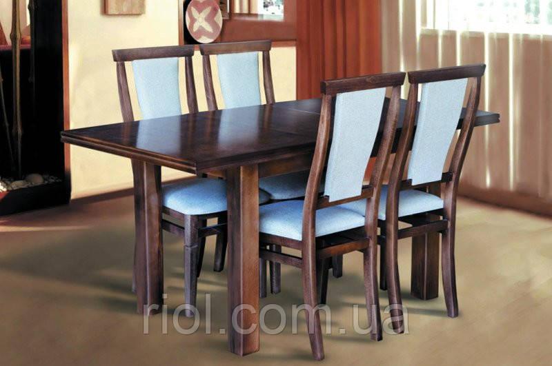 Стол обеденный раскладной Петрос (темный орех)
